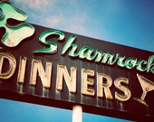 Historic Highway 99 Vintage Shamrock Dinners Neon Sign - Retro Kitchen Decor - St. Patrick's Day Decor - Fine Art Photography