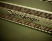 Green Graham Supercharger Emblem - Masculine Car Art - Mancave Decor - Art for Guys - Chrome Lettering - 12X18 Fine Art Photograph