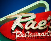 Rae's Restaurant Neon Sign - Mid Century Modern Decor - Santa Monica Diner - Retro Kitchen Decor - Red and Green Fine Art Photography