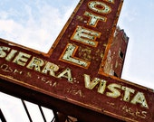 Route 66 Sierra Vista Motel - Striped Neon Sign - Rustic Home Decor - Retro Wall Art - Graphic Typography - Fine Art Photography