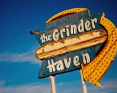 The Grinder Haven Vintage Neon Sign - Giant Neon Sub Sandwich - Ontario - Retro Kitchen Decor - Guy Gift - Fine Art Photography