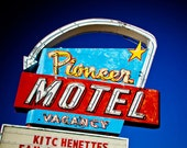 Route 66 Pioneer Motel Vintage Sign - Albuquerque New Mexico - Bright Retro Home Decor - Western Inspired Art - Fine Art Photography