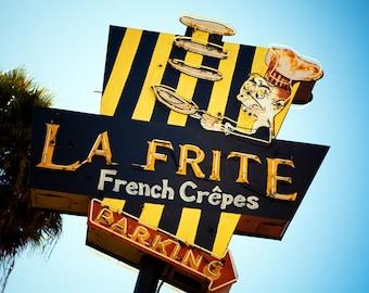 La Frite French Crepe Restaurant Neon Sign - Retro Kitchen Decor - Mid Century Los Angeles Art - Fine Art Photography