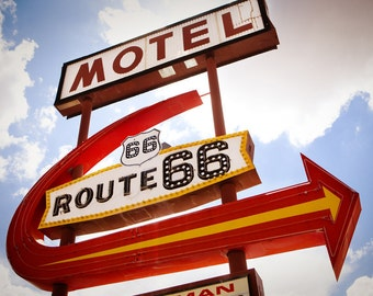 Route 66 Motel Neon Vintage Sign - Retro Home Decor - Giant Arrow - Office Decor - Road Trip Art - Kingman - Fine Art Photography