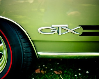 Green Plymouth Belvedere - GTX Muscle Car Emblem - Classic Car Art for Guys - Car Details - Raod Trip Art - Fine Art Photography