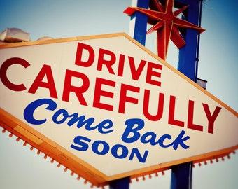 Las Vegas Come Back Soon Neon Sign Print | Googie Home Decor