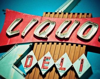 Beverly Mart Liquors Neon Sign - Mid Century Modern Art - Seen on Design Sponge - Retro Kitchen Decor - Googie - Fine Art Photography