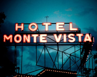Hotel Monte Vista Neon Sign - Route 66 Wall Art - Road Trip Flagstaff Arizona - Motel Sign - Retro Home Decor - Fine Art Photography