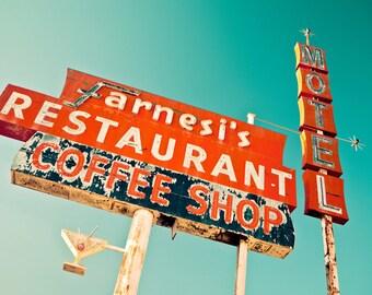 Farnesi's Restaurant Coffee Shop and Motel Vintage Neon Sign - Mod Decor - Retro Kitchen Decor - Wall Art - Fine Art Photography