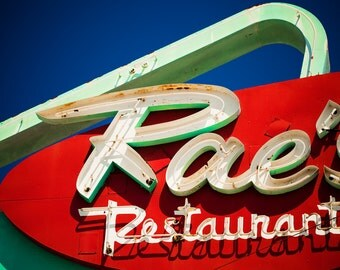 Rae's Restaurant Neon Sign - Mid Century Modern Decor - Santa Monica Diner - Retro Kitchen Decor - Red and Green Fine Art Photography