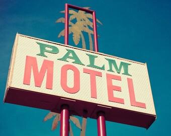 Palm Motel Sign - Mid Century Modern Art - Pink and Green - Palm Tree Art - Tropical Decor - Ashland Oregon - Fine Art Photography