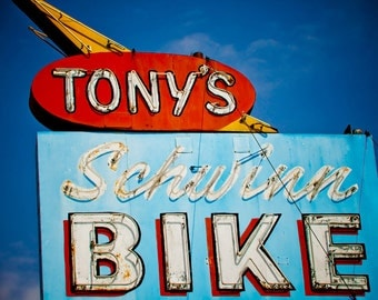 Vintage Tony's Schwinn Bike Neon Sign - Retro Home Decor - Bicycle Lover's Gift - Los Angeles Art - Fine Art Photography