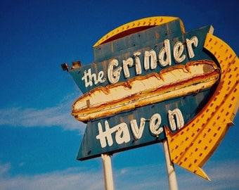 The Grinder Haven Vintage Neon Sign - Giant Neon Sub Sandwich - Ontario - Retro Kitchen Decor - Guy Gift - Fine Art Photography