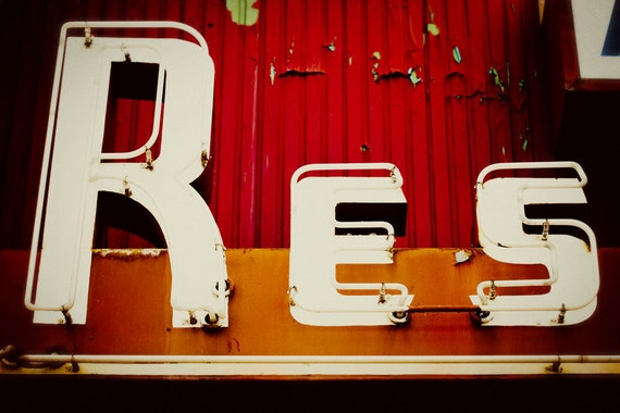 Richland Restaurant Neon Sign - Retro Typography - Mad Men Inspired - Graphic Art - Vintage Kitchen Decor - Fine Art Photography