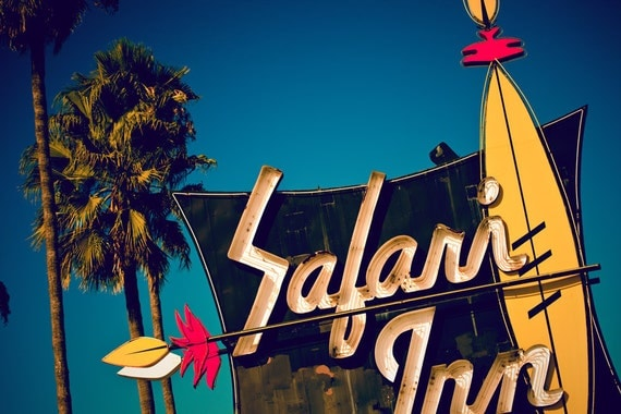 Hollywood Safari Inn - Tiki Kitsch Neon Sign - Graphic Home Decor - Colorful Retro Art - Neon Typography - Fine Art Photography
