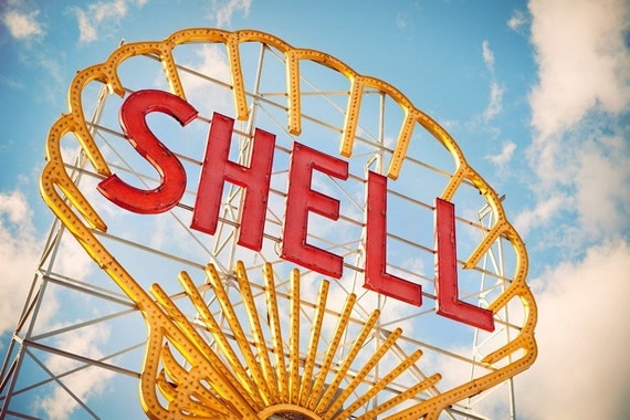 Shell Gas Station Giant Neon Sign - Seen in the Boston Globe - Graphic Home Decor - Colorful Wall Art - Fine Art Photography