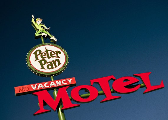 Las Vegas Peter Pan Motel Neon Sign - Vintage Typography - Retro Home Decor - Vacancy Sign - Freemont Street - Fine Art Photography
