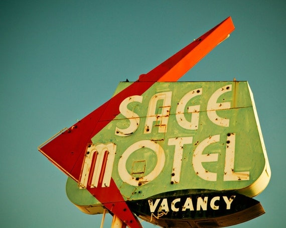 50 off sale route 66 sage motel vintage by retroroadsidephoto for Home decor 50 off
