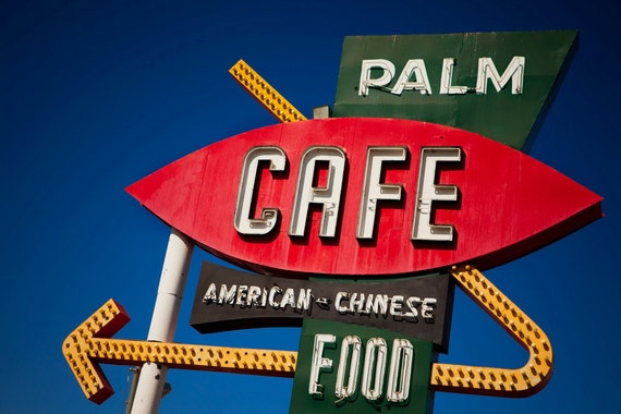 Palm Cafe Vintage Neon Sign - Route 66 Barstow - Retro Kitchen Decor - Graphic Home Decor - Colorful Wall Art - Fine Art Photography