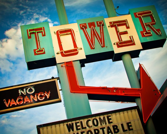 Tower Motel Vintage Neon Sign with Giant Arrow - Route 66 Home Decor - Retro Wall Art - Santa Rosa New Mexico - Fine Art Photography