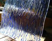 Square Wavy Glass Plate-Rainglass-Handpainted Cobalt Blue