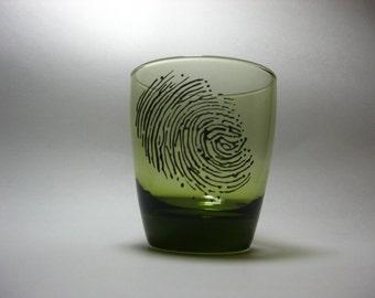 Fingerprints Drinking Glass Set (2) - Black on Green Glass- 3d-Scene of the Crime