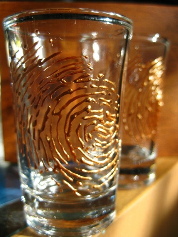 Sale Fingerprint Midas Touch Shot Glass Set (two)- Gold- 3D-Scene of the Crime