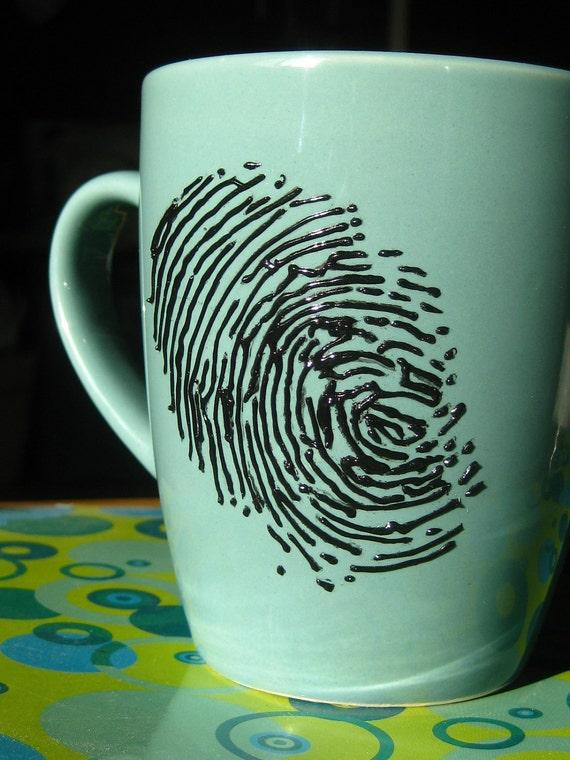 Scene of the Crime-Hand Painted Fingerprint Mug- Teal Blue- dishwasher safe