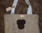 Large Handmade Burlap Purse with Fabric Flowers and Embellishments