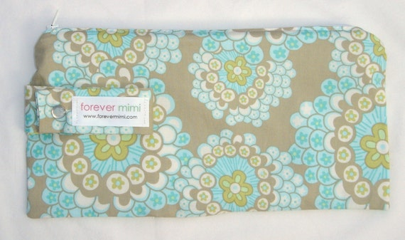 Large Cosmetic Bag / Diaper Clutch - Daisy Chain