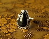 Natural Black Onyx Silver Ring - Size 10