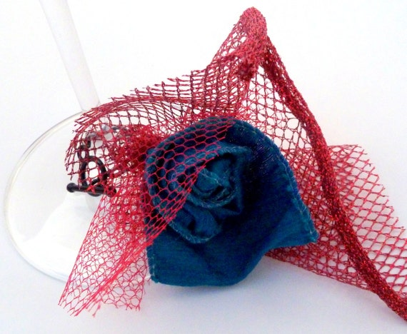 whimsical rosette and tulle stem charm