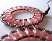 Dusty Rose Pink & Gray Earrings. Hand-Stitched Beaded Wheels