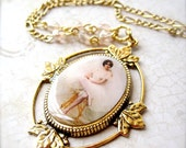 RESERVED: Ballerina Necklace - Gold Necklace - Cameo - Recital Gift - Dancer - Tutu - Charm Necklace - Ballerina Jewelry - Pendant Necklace