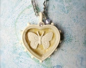 Butterfly Necklace - Heart Pendant - Butterfly Jewelry - Shabby Chic