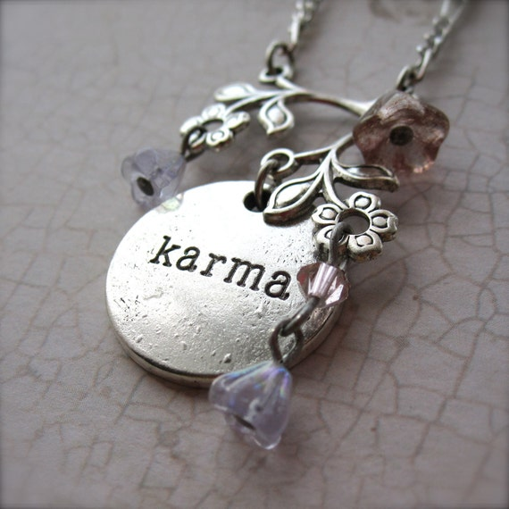 silver charm necklace karma necklace silver by