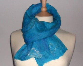 Sea breeze cobweb felted scarf