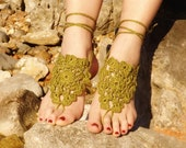 Crochet Khaki Barefoot Sandals,Henna Nude shoes, Olive Foot jewelry, Wedding, Victorian Lace, Sexy, Lolita, Yoga, Steampunk, Beach Pool
