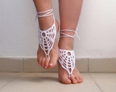 Crochet White Barefoot Sandals, Nude shoes, Foot jewelry, Wedding, Victorian Lace, Sexy, barefoot sandles, Steampunk, Yoga, Anklet