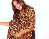 OOAK Crochet shawl multicolor green, terracotta, beige, brown, Capelet