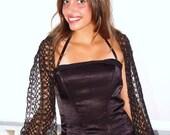 SALE Black scarf, mohair  lace, gossamer lurex thread dark blue green