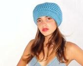 SALE Crochet beret, shunky  crocheted  hat, warm, light blue Hat