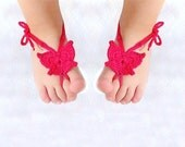 Baby Butterfly Barefoot sandals, Baby shoes, Hot Pink, Fuchsia, Magenta - Lasunka