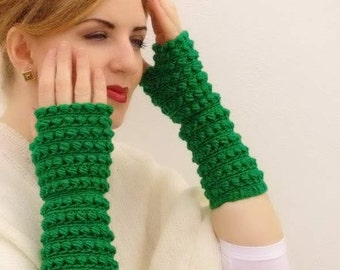 Crochet mittens, fingerless gloves, knit accessory, arm warmers wool green