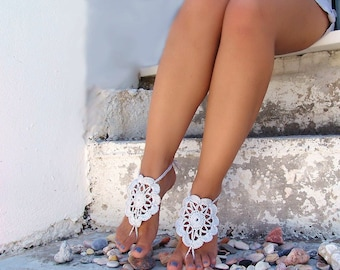 Crochet Gray  Barefoot Sandals, Nude shoes, Wedding, Lace, Sexy,  Yoga, Anklet , Steampunk sandals, Gypsy, Beach Pool.