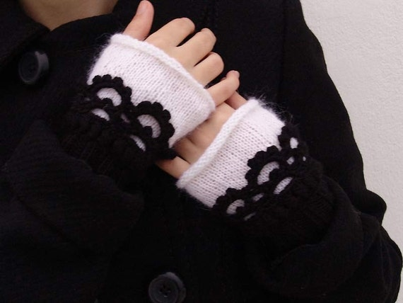 Fingerless gloves. PICK YOUR COLOR. Women  Knit  Arm Wrist Warmers, winter Crochet  mittens, classic color black white
