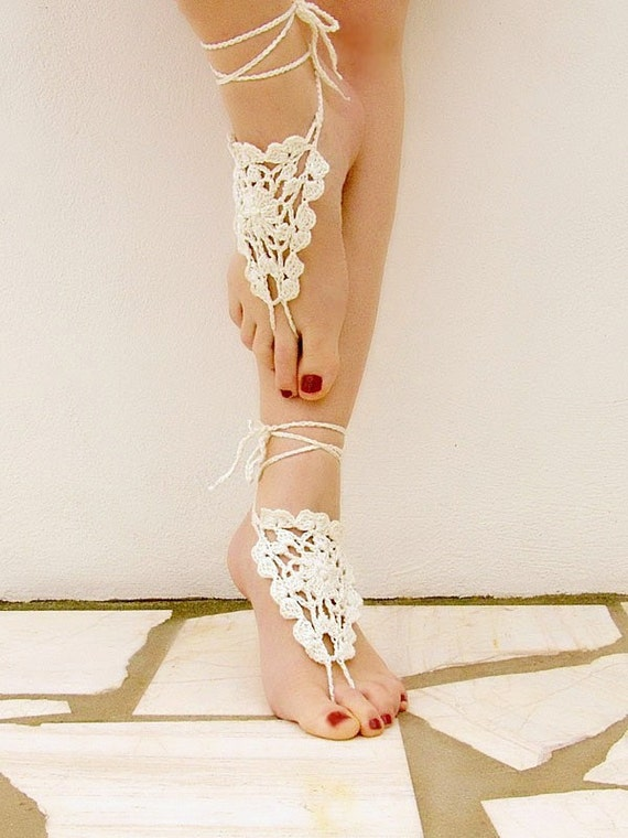 Wedding barefoot sandals, nude shoes, wedding, victorian lace, sexy, yoga, anklet , steampunk sandals, beach pool