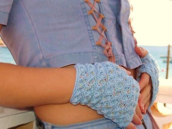 Fingerless gloves, Crochet Mittens, blue arm warmers.