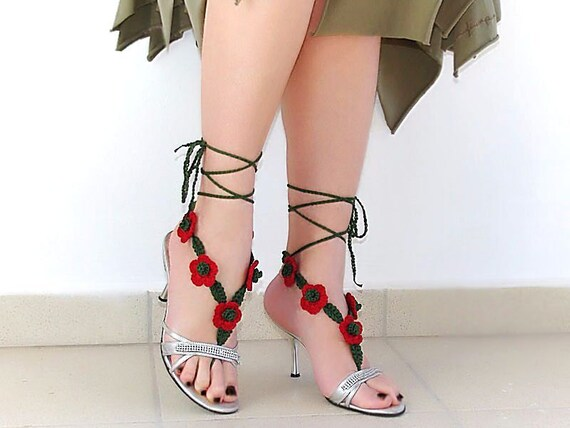 Crochet  barefoot sandals, green leaves, red flowers, nude shoes, wedding, victorian lace, sexy,  yoga, anklet , steampunk, beach