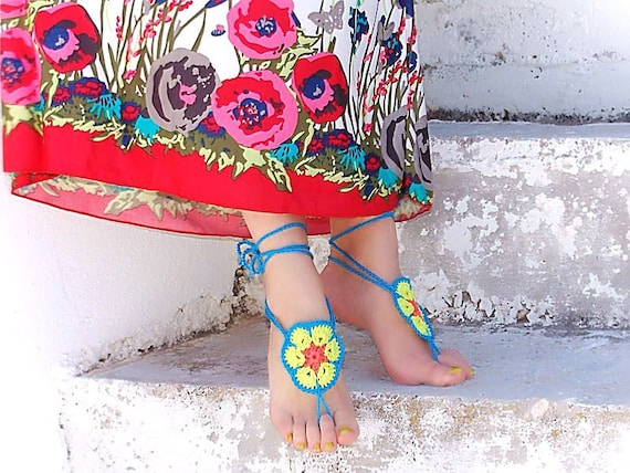 Handmade Colorful African Flowers barefoot sandals,  crochet  nude shoes, gipsy, sexy,  yoga, steampunk, beach pool